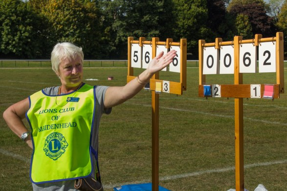 A Lions Club volunteer indicates the scores, around ten minutes before the klaxon sounded.