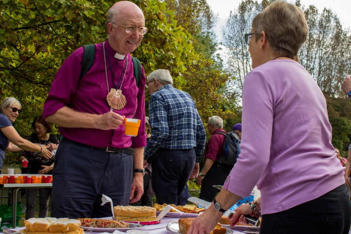 Bishop John made time to talk to Barbara Essam of St Luke's.