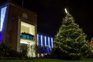 The 1960s Town Hall, which once doubled for a hospital in the Carry On films, is illuminated in dazzling new lights this Christmas.