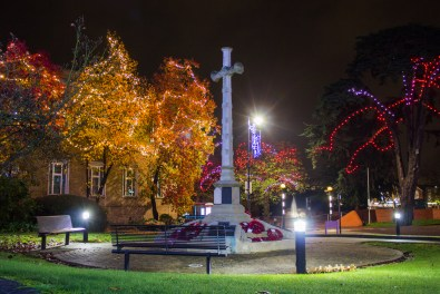 Around the war memorial in front of the Town Hall, the trees and street-lamps bear illuminations and decorations.