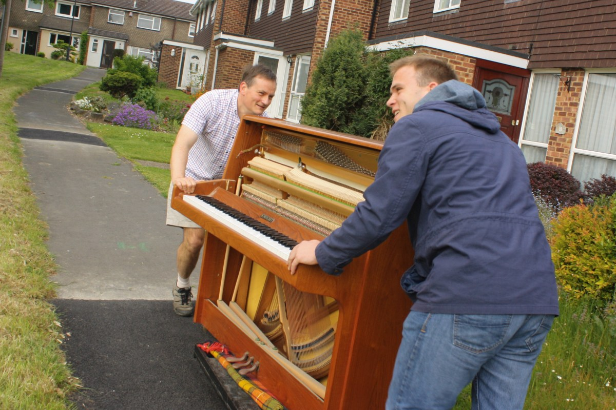 Moving the instrument would have been virtually impossible, were it not for a handy trolley, leant to us for the job.