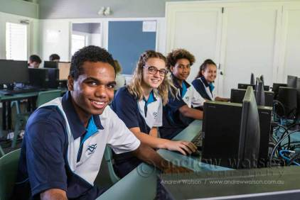 Image of senior high school students in information technology class