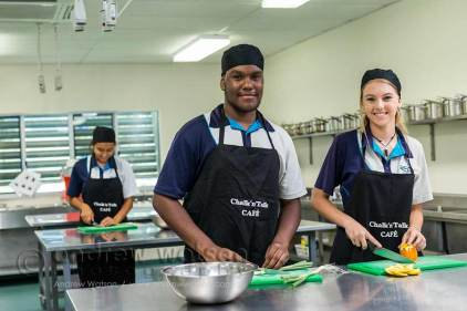 Images of students in food technology class
