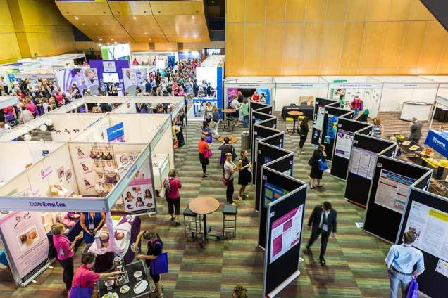 Image of exhibitor booths and delegates at CNSA Annual Congress trade exhibition