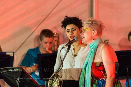 Image of Katie Noonan and Montaigne performing at Yarrabah Band Festival