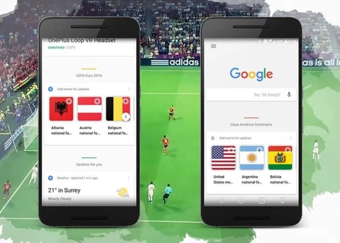 Google Now Cards Copa América Eurocopa 2016 Centenario