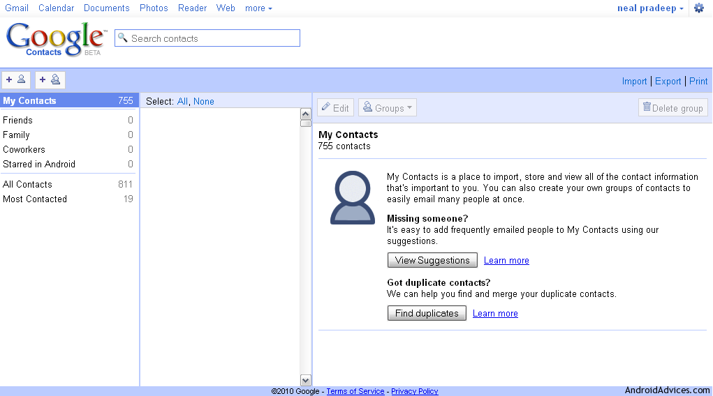 how to see google contacts on pc