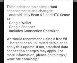 HTC One SV Jelly Bean Update
