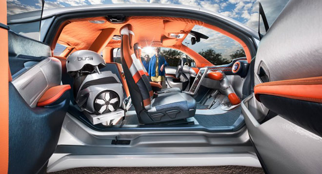 Auf dem Automobil-Salon Genf 2015 hat der Schweizer Fahrzeughersteller Rinspeed seinen Konzeptkleinwagen Budii vorgestellt. In diesem selbstfahrenden Elektroauto sitzt das Lenkrad an einem Roboterarm, so dass das Fahrzeug die Kontrolle sowohl an den Fahrer als auch an den Beifahrer übergeben kann.