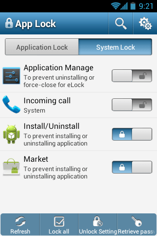 lock installed apps using password or pattern on android app locker. Black Bedroom Furniture Sets. Home Design Ideas