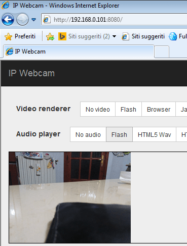 IpWebcam dal browser.