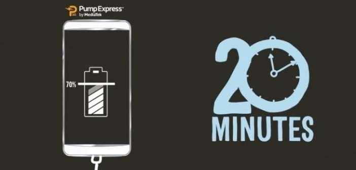 MediaTek Pump Express 3.0. De 0 a 70% de batería en tan solo 20 minutos