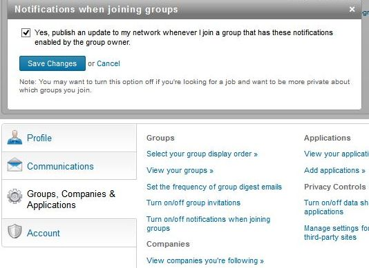 Joining groups box screenshot