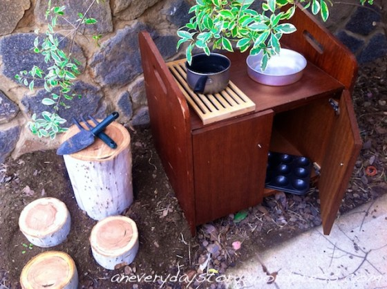this is the mud kitchen i told you about i really like how it turned out i got everything for next to nothing at the dump and the tree cookies from the tree out the front jack hasnt Trash & Treasure: Second Hand Toys