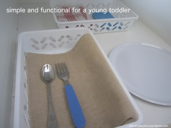 montessori practical life simple and functional kitchen set up for young toddler 2 In the Kitchen with Sarah (and a teeny tiny apron)
