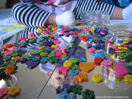 reggio activities for toddlers using mirrors and buttons 3 Mirrors & Buttons: A Reggio inspired Activity for Sarah