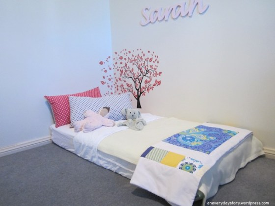 montessori bedroom for toddlers floor bed and cushions Sarahs Room: Growing with Her