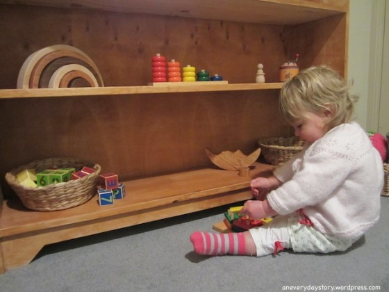 montessori bedroom for toddlers low shelves and toys materials for 18 months old Sarahs Room: Growing with Her
