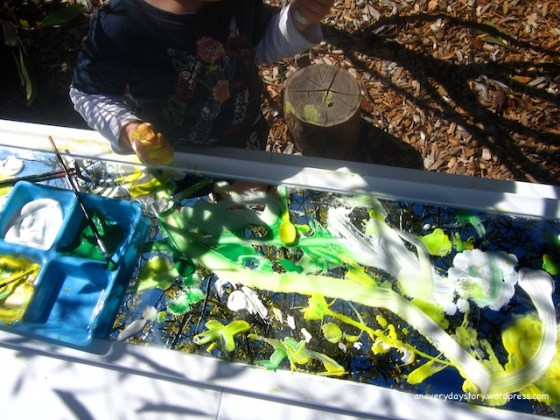 reggio emilia painting using mirrors outdoors an everyday story Observational Painting from a Different Perspective