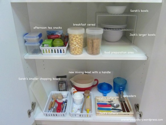 montessori practical life kitchen set up pantry organisation preschooler and toddler an everyday story2 Making Space for Two in the Kitchen