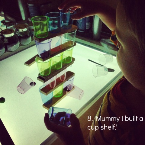 reggio light panel activities using cups and bricks an everyday story This Week…7/52
