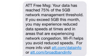 speed throttling by AT&T charges