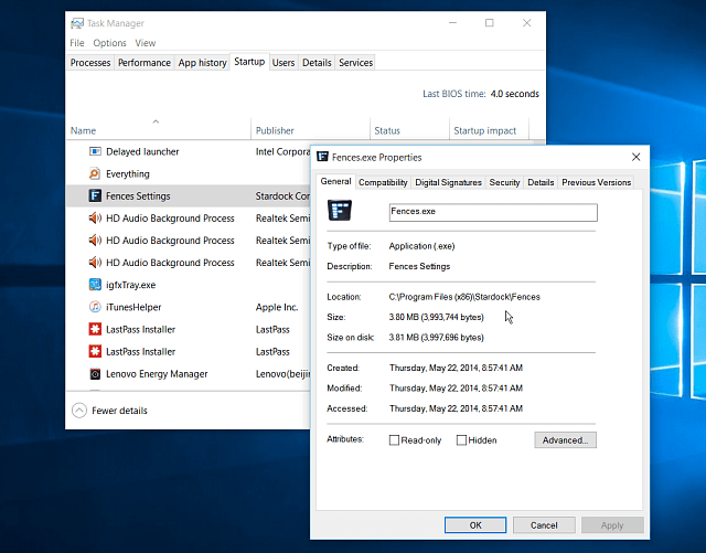 Properties how to disable startup programs in windows 10