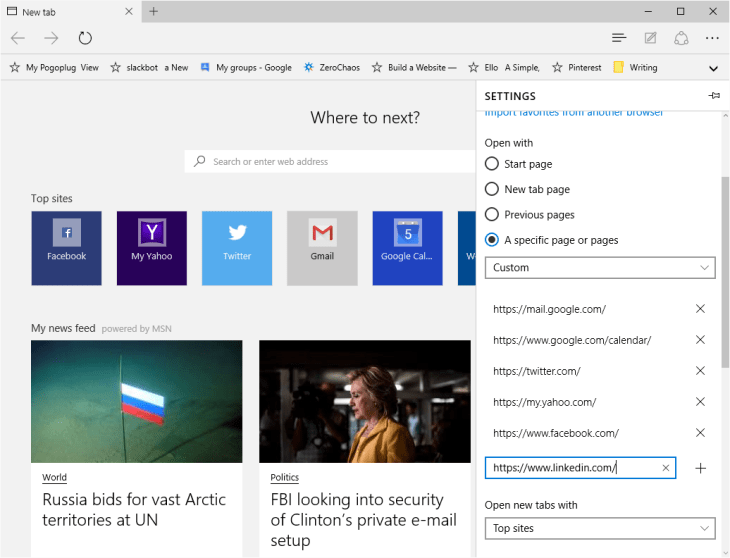 how to setup multiple tabs in microsoft edge