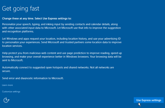 how to upgrade windows 7 to windows 10 first window express settings