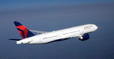 Delta Boeing 777-200LR in flight