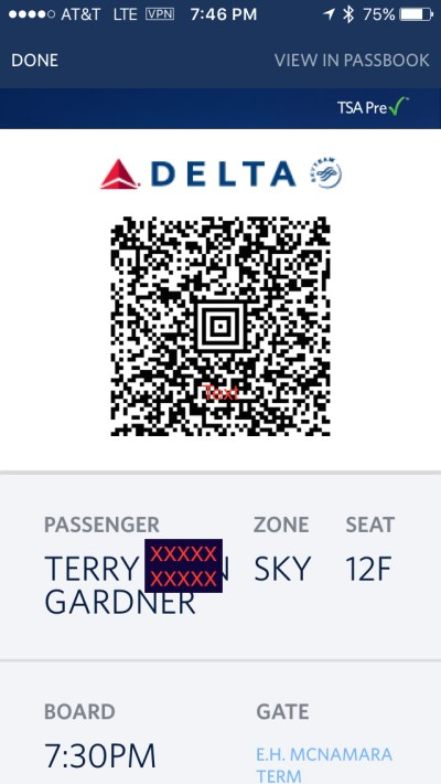 Fly Delta boarding pass