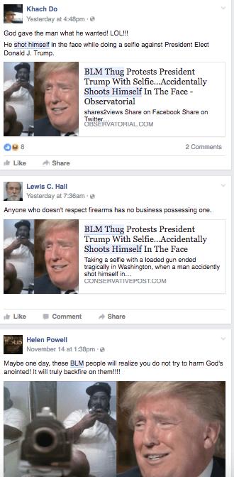 fake news blm thug shoots himself hoax facebook twitter infowars fake news