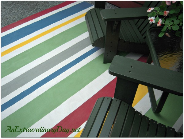 Painted Striped Canvas Floor Cloth | AnExtraordinaryDay.net