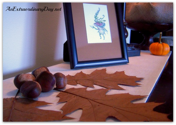 AnExtraordinaryDay.net | Piano Vignette with Oak Leaves & Buckeyes