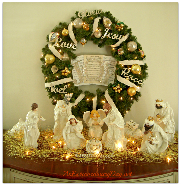 AnExtraordinaryDay.net - A Place of Joy and Inspiration - Nativity and Wreath Vignette for Christmas Decor - ideas for Christmas decorating