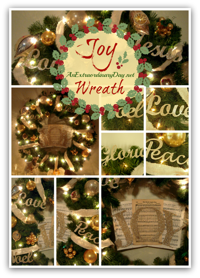AnExtraordinaryDay.net - Joy Wreath - Collage of Inspiration - Decorating with vintage ornaments, glitter, and gold