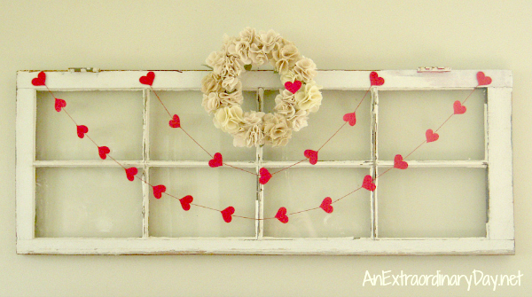 Vintage Window with Heart Garland and Wreath for Valentine's | AnExtraordinaryDay.net
