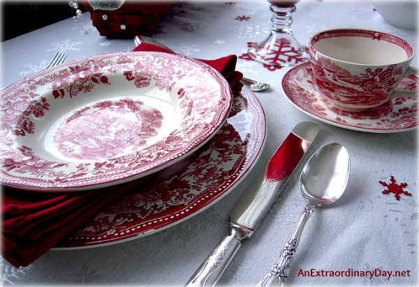 Clarice Cliff Royal Staffordshire - Red Transfer Ware - Winter Table Setting - AnExtraordinaryDay.net