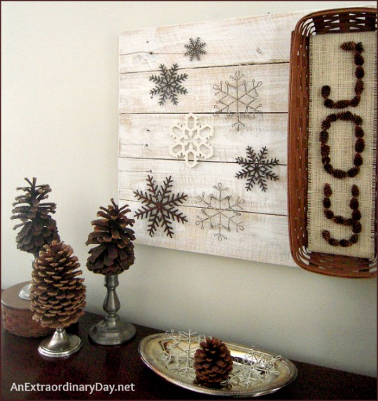 Winter Sideboard or Mantel Vignette - AnExtraordinaryDay.net