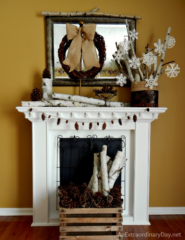 Decorating the Mantel for Winter :: AnExtraordinaryDay.net