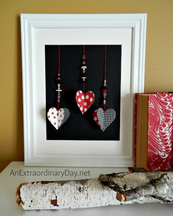 Beaded Dangling Hearts Framed :: Valentine Mantel Decor :: AnExtraordinaryDay.net