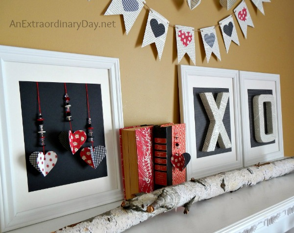 Book Page Decor :: Black and Red and White Valentine Mantel Decor :: AnExtraordinaryDay.net