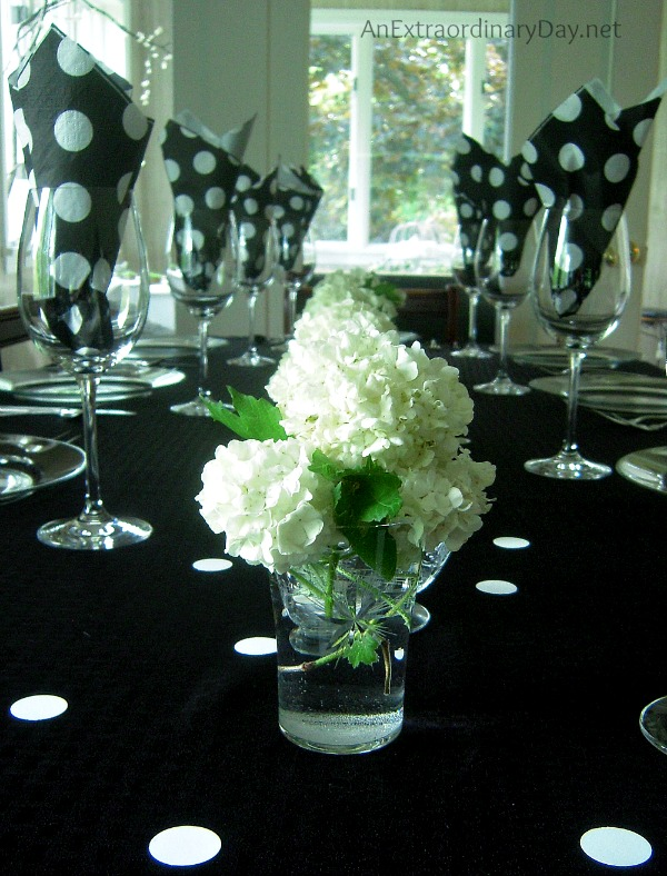 Black and white polka dot spring tablescape :: AnExtraordinaryDay.net