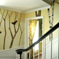 Hand Painted Decorative Wall Treatment  Birds and Trees  AnExtraordinaryDay.net