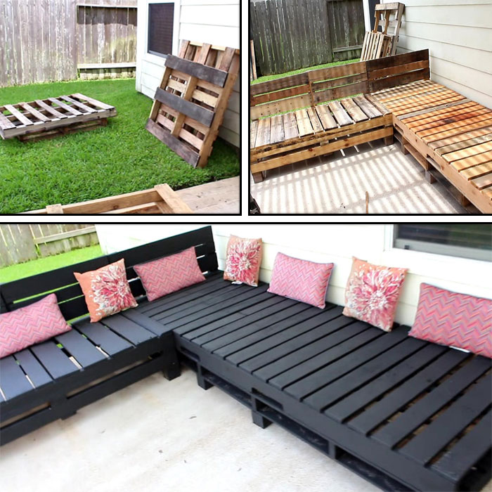 Pallet Furniture DIY - Patio Sectional
