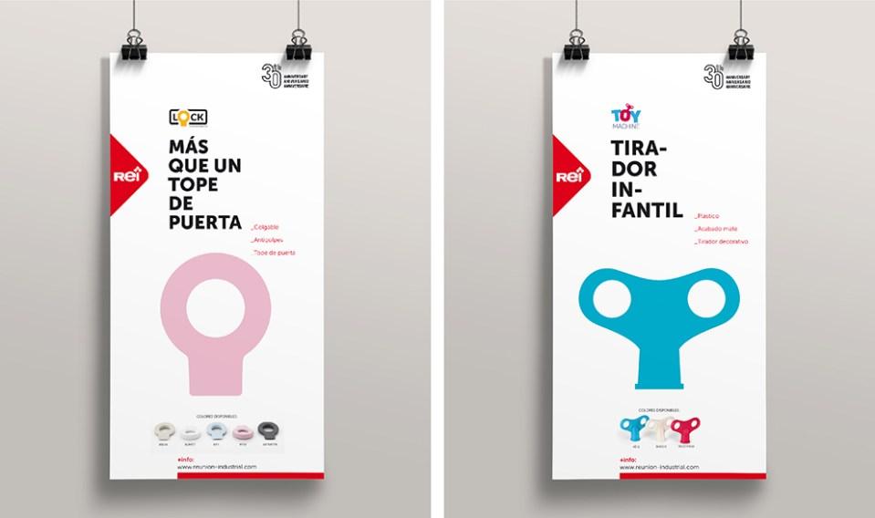 REI reunión industrial catalogo diseño editorial gráfico maquetación publicidad tiradores pequeño accesorio toy machine tope puerta lock plv cartel feria
