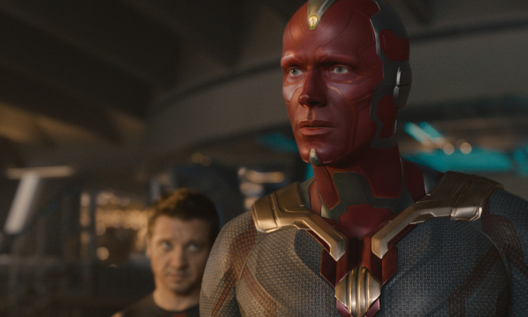 Vision (Paul Bettany) with Hawkeye (Jeremy Renner) in the background | Film Frame © Marvel 2015 - See more at: https://makeupmag.com/creating-avengers-age-of-ultron-vision-make-up/#sthash.XgmsRfqJ.dpuf