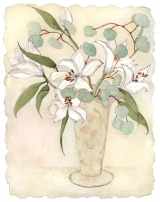 <h5>White Oriental Lilies with Eucalyptus</h5><p>Watercolor on handmade paper</p>
