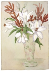 <h5>White Oriental Lilies with Protea</h5><p>Watercolor on handmade paper</p>