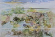 "<h5>Unspoiled</h5><p>Watercolor on yupo  (Triptych)  27""x39"" Framed </p>"
